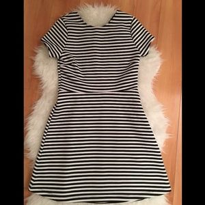 TOPSHOp Black White Sailor Stripe Skater Dress